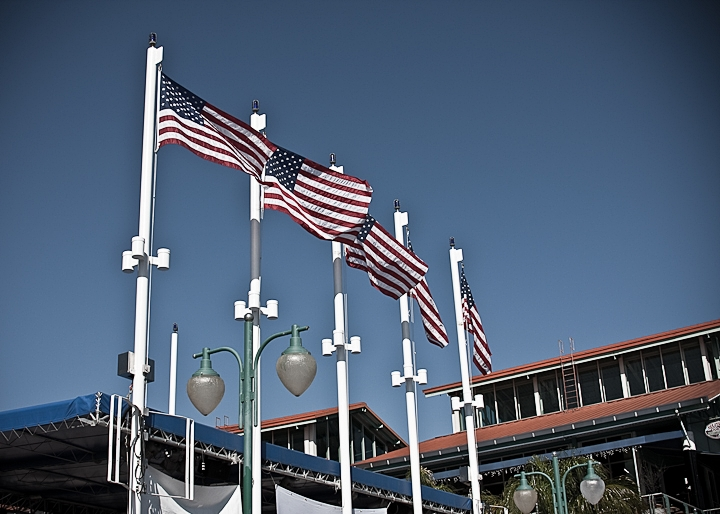 Five flags flying at