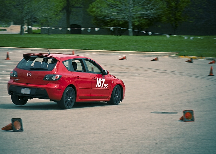 A Mazda 3 at a recent Autocross [1] race in Champaign.  It was turning so hard it entered