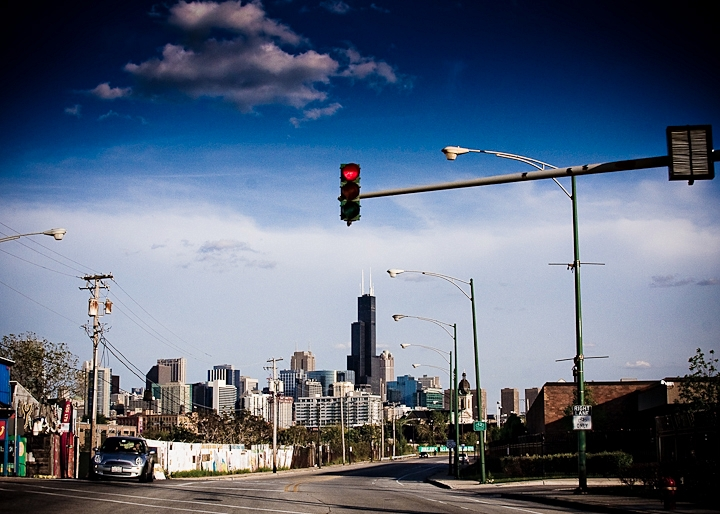 A photo from this last weekend in Chicago.  I was on my way to the Double Door with a band and captured this photo while riding there.  I still can't believe that the Sears Tower was renamed the Willis Tower this last spring.