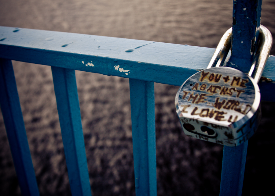 I found this lock attached to a railing while walking on the Main street bridge in Jacksonville.  The lock looked very out of place but was obviously put there purposely.  There were some other writings on it but this was the most meaningful.  I would like to dedicate this photo to my friends Dusty & Lauren.