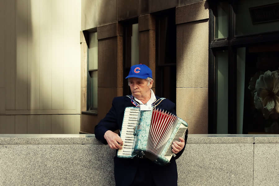 Another street musician but this time in Chicago. As the weather is getting warmer I am sure I will see more and more of them. I plan on trying to start talking with each of them to get a story about each performer.